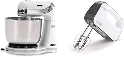 Dash Stand Mixer (Electric Mixer for Everyday Use): 6 Speed Stand Mixer with 3 qt Stainless Steel Mixing Bowl - White & Smart Store Compact Hand Mixer Electric for Whipping + Mixing, 3 Speed, Grey