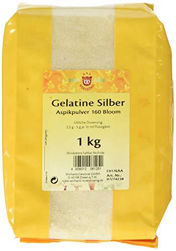 Wichartz Würzkönig Gelatine Silber Aspikpulver gemahlene Gelatine Gelatinepulver vom Schwein, 1 kg Großpackung, für Sülze & Dessert (1 x 1 kg)