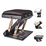 Adjustable Footrest with Removable Soft Foot Rest Pad Max-Load 120Lbs with Massaging Beads 4-Level Height Adjustment for Car,Under Desk, Home, Train (Brown)