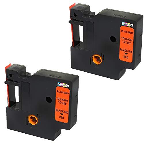 2 Kassetten D1 45017 schwarz auf rot 12mm x 7m Schriftband kompatibel für DYMO LabelManager LM 100 150 160 200 210D 260 280 300 350 350D 360D 400 420P 450 500TS PC PC2 PnP LabelWriter LW 400 450 Duo