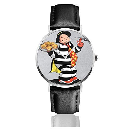 Unisex Business Casual Theft Wimpy Hamburgler Popeye McDonalds Uhren Quarz Leder Uhr mit schwarzem Lederband für Männer Frauen Young Collection Geschenk