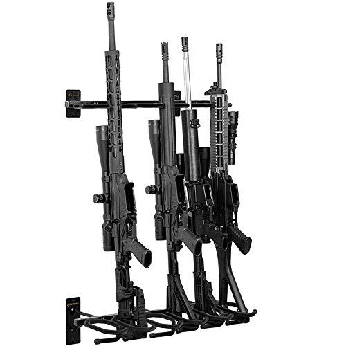 GOHIKINGl Metal Gun Rack Wall Mount Rifle Shotgun Hooks Hold 6 Pcs and Bow Mount Hangers with Soft Padding Wall Gun Rack Display Stand…