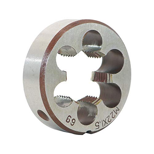 HSS 22mm X 1.5 Metric Right Hand Round Die, Machine Thread Die M22 X 1.5mm Pitch for Mold Machining, Alloy Steel, It Can Process Steel, Cast Iron, Copper And Aluminum.
