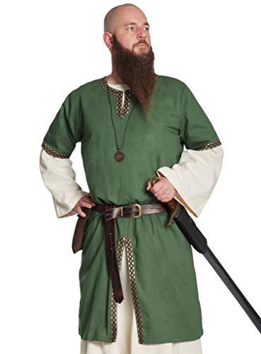 Andracor Edle verzierte Mittelalter Kurzarm Tunika - Gernot - Grün - Größe S - Individuell einsetzbar für LARP, Mittelalter, Fantasy & Cosplay