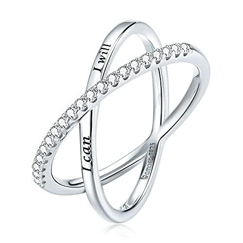 Deslumbrantes anillos de plata de ley 925, anillo de cristal múltiple con cruz de fe para mujeres, regalo de compromiso,joyería de plata,aniversario