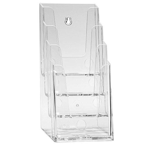 DIN Lang/DIN A6 Prospekthalter Prospektständer Tischaufsteller Flyerständer mit 4 Etagen - transparent