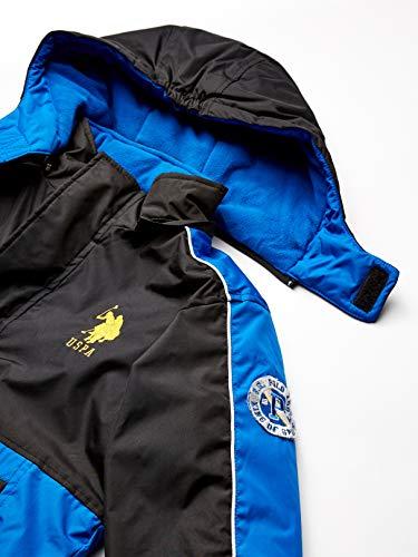U.S. Polo Assn. Boys' Stadium Parka Outerwear Jacket Down Alternative Coat, Side Pockets Blue Tile/Black, 7 UK
