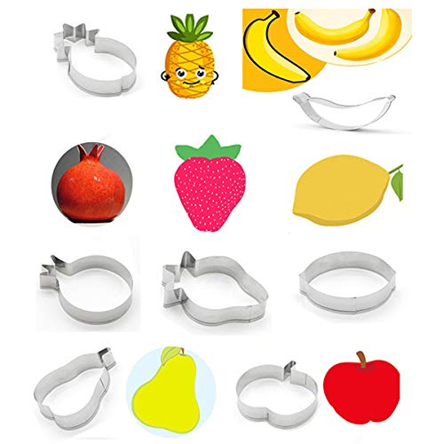 VIIRY 7Pcs Fruit Cookie Cutter Set, Stainless Steel Plaque Frame Pastry Biscuit Cake Fondant Pancake Stamps DIY Mold for Kids