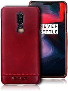 OnePlus 6 Case, Pierre Cardin Premium Genuine Leather Slim Hard Case Cover for OnePlus 6 (Red)