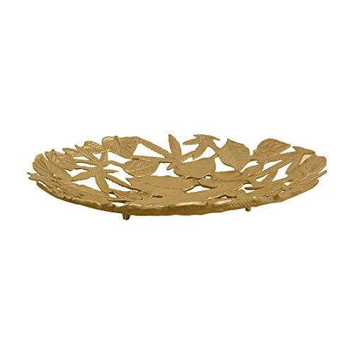 De Kulture - Bandeja decorativa para centro de mesa (19 x 3,5 pulgadas) para decoración del hogar, vajilla, flores, decoración de boda, día festivo, Navidad, color dorado