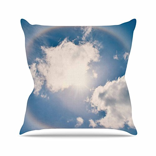 KESS InHouse RD1180AOP03 18 x 18-Inch 'Robin Dickinson Halo Blue White' Outdoor Throw Cushion - Multi-Colour