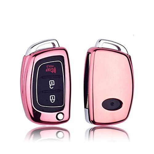 FYMIJJ Schlüsselsatz Weiche TPU Tastatur Abdeckung für Hyundai i10 i20 i30 Elantra Accent ix25 ix35 ix45 Creta Tucson Santa fe 2016 2017 2018 schlüsselanhänger case Shell, pink, grafikkarton