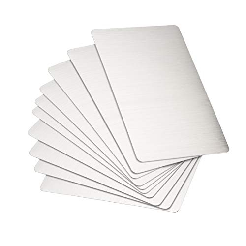 uxcell Blank Metal Card 88x53x0.4mm Brushed 201 Stainless Steel Plate for DIY Laser Printing Engraving Silver Tone 15 Pcs