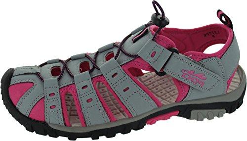 PDQ - Sandalias de vestir de sintético para mujer Multicolor Grey/Fuchsia
