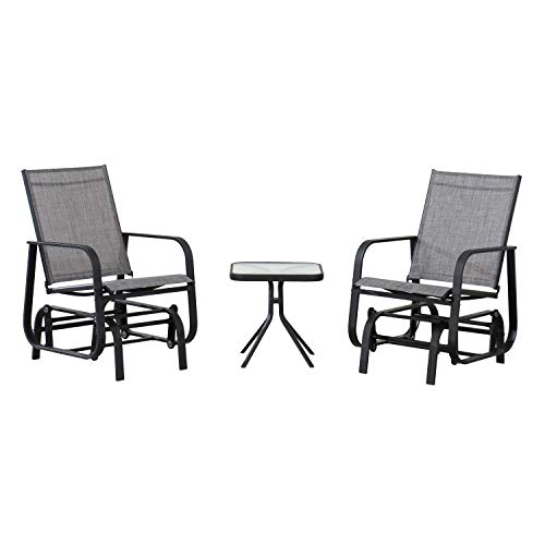 AmazonBasics 3-Piece Outdoor Patio Steel Glider Sling Chair Bistro Dining Set - Grey
