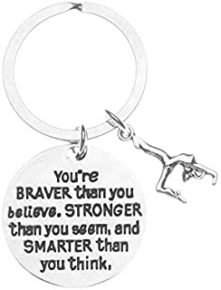 Gymnastics Charm Keychain, Inspirational You're Braver Than You Believe, Stronger Than You Seem & Smarter You Think Jewelry, Gymnastics Gifts for Gymnasts, Teams and Coaches