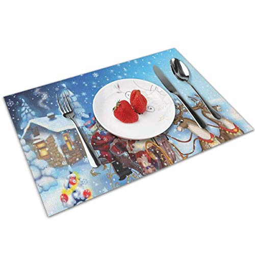 Place Mats Placemats Christmas Santa in Sleigh with Reindeer and Toys in Snowy North Pole Tale Fantasy Image Navy Blue Table Mat 30X45CM