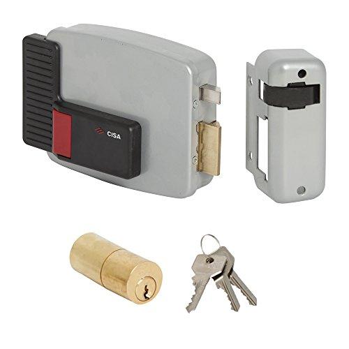 CISA 11520-10 Serratura Elettrica per Cancello 11611, Entrata Destra, 50 mm, 12 V, Verniciato Grigio Alluminio, 50