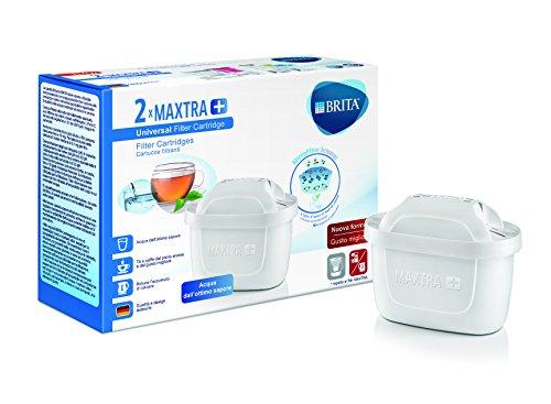 Brita Filtri Maxtra+ Pack 2 Cartucce Filtranti per Caraffe, 2 Mesi di Acqua Filtrata, Plastica/Carboni/Resine, Plastica, Bianco, 2 Unità