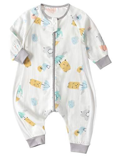 Chilsuessy Baby Sommer Schlafsack Langarm aus 100% Baumwolle 0.5 Tog Leicht atmungsaktiv Kleinkind Schlafsack mit Füßen Sommer Schlafanzuf für Jungen Mädchen, Bär, 120/Baby Höhe 105-115cm