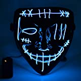 Mascara de Halloween, Led Mascaras 3 Modos de Lluminación sin Bateria, Adultos LED Mask para Fiestas de Disfraces, Navidad, Carnavales, Cosplay (Azul)