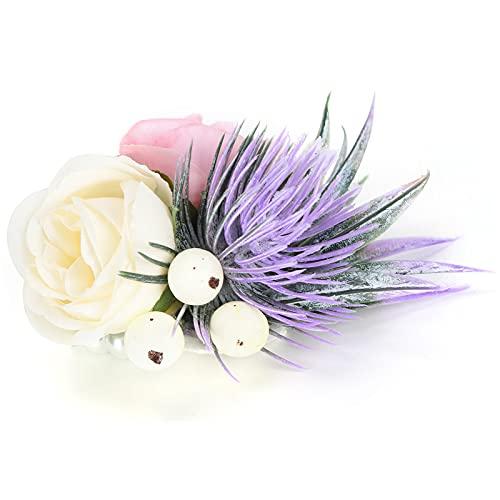 Flor de mano, flor de muñeca de dama de honor de moda delicada y romántica para la mayoría de las personas para bodas, baile, aniversario, quinto aniversario, cóctel(rosado)