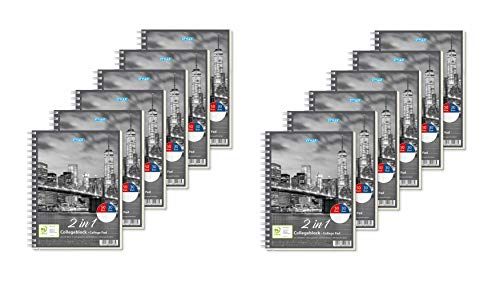 Stylex 40033-P6 40033 Duo Spiral-Collegeblock DIN A5, 80 linierte und Karierte Blätter aus holzfreiem Papier, im 6er Vorteils-Pack für Schule und Universität, Klar (2)
