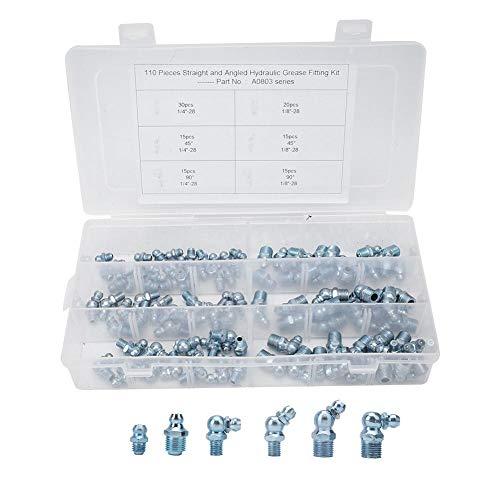 110Pcs Engrasadores,Surtido de rácores de engrase,Boquillas de engrase hidráulicas Kits de surtido de engrase de engrase de metal galvanizado Kits 45 °1/8in-28