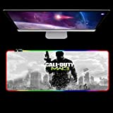 Gaming Mouse Pads Gunfight Game RGB Game Mouse pad Gaming Computer 14 Lighting Modes pc Keyboard Desk Play with Backlit Mousepad for Call of Duty 27.6x11.8 inch