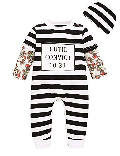 Singcoco Baby Boy Girl Halloween Costume Outfit Infant Prisoner Romper (Stripe Black,3-6 Months)