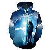 KYKU Wolf Hoodies for Men 3D Hoodie Sweatshirt Womens Graphics Pullover (XX-Large)