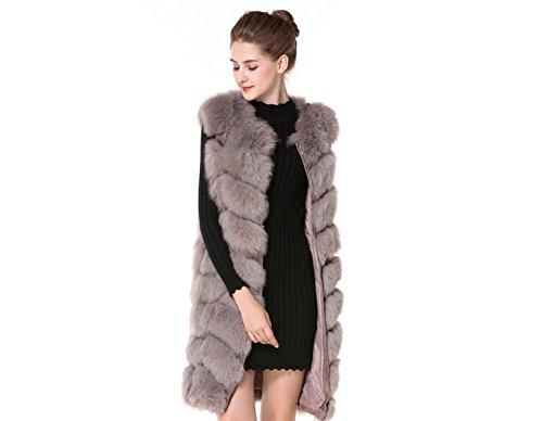Luxury Fox Vest Pelzweste 100% Echtfell Fuchs Weste Pelz 3 Farben Gr. XS - 3XL (Beige, L)