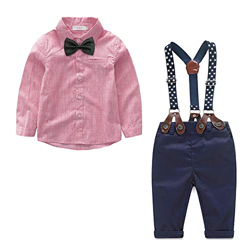 Ropa Recien Nacido niño otoño e Invierno Camisa roja de Manga Larga + pantalón + Pajarita + Tirantes Ropa Infantil de 4 Piezas(Rojo,6-9 Meses)