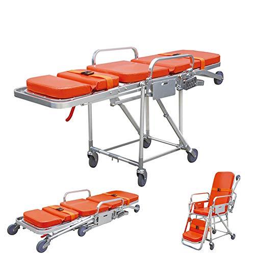 DZWJ Tragbare medizinische Bahre, Notfallambulanz-Bahre-Legierungs-Notfallmedizinische Krankenhaus-Bahre drehte justierbare Faltbare Stuhlbahre