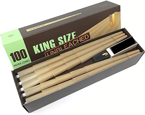 JWARE Unbleached Konische King Size Hülsen 109mm/26mm-Unbleached Paper/Tip-1 Box mit 100 Cones, braun, M