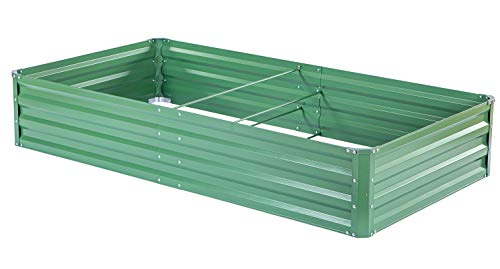 "zizin Metal Raised Garden Bed Outdoor Large Square Planter Box for Vegetables Flower Bed Kit, 68"" W x 35.4"" L 1 Size: 68.1""(L) x 35.4""(W) x 11.8""(H), provide sufficient space to grow vegetables, flowers or other plants Durable: made of galvanized metal, corner and frame are reinforced, more stable and durable, can be used for a long time Bottomless Frame: provide a good drainage effect, make the soil more permeable to protect the plant root, so the plants would grow better"