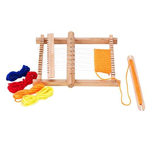 wuzhou Máquina de Tejer de Coser a Mano Niños de Madera Telar de Tejer máquina de Tejer de Coser a Mano Juguete Educativo para niños Telar de Bricolaje 8.66X6.50X0.98In