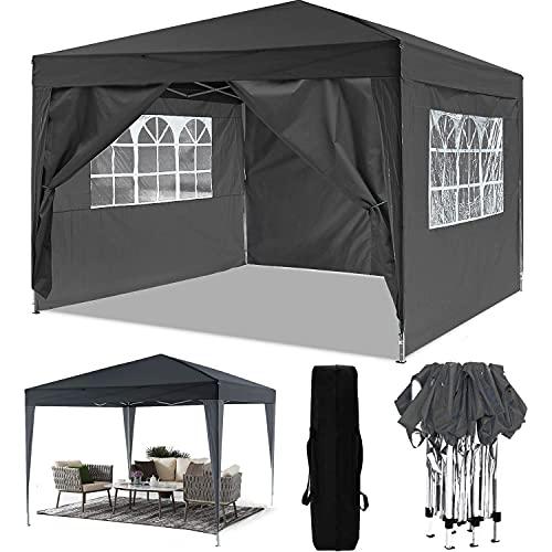 Oppikle 3m x 3m Folding Gazebo Garden Tent Folding Folding Retractable Waterproof PVC Coating Gazebo Party Tour Picnic 3x3m nero