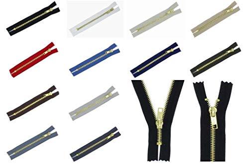 zipworld Jeans - Reißverschlüsse Gold-Metall Reißverschluss 5mm Nicht-teilbar, J (schwarz - 322, 15cm)