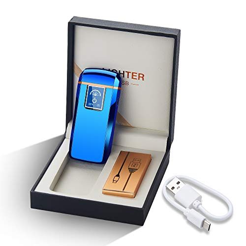 Lighters Dual Arc Lighter Windproof Plasma Lighter USB Rechargeable Lighters Flameless Electronic Lighter with LED Display for Cigarettes Candles Fireworks (Blue)