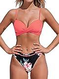 CUPSHE Conjunto de Bikini para Mujer Estampado Floral Retorcido Delantero Traje de Baño de Dos Piezas, XS
