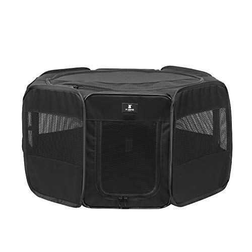 X-ZONE PET Portable Foldable Pet Dog Cat Playpen Crates Kennel/Premium 600D Oxford Cloth,Removable Zipper Top, Indoor and Outdoor Use (Small, Black)