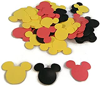 Assorted Mickey Mouse Head Shape Die Cuts - Black/Red/Yellow - 75pc