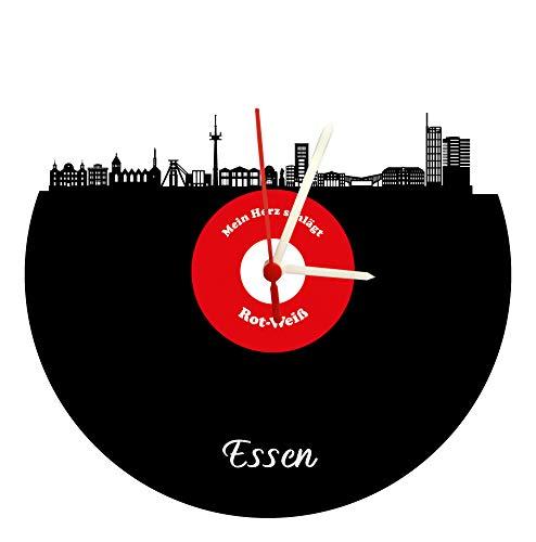 Wanduhr Essen Skyline,rot-weiß, Fußballuhr, hochwertige Acrylglasuhr Wanduhr mit Quarzwerk