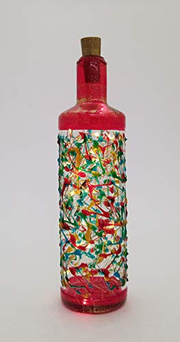 Flasche mit LED, rote Farbe in handbemaltem Murano Style Venice Glas