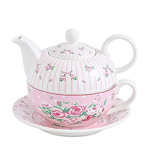 MALACASA, Serie Sweet.Time, 4 Piezas Juego de Té de Porcelana con Tetera con Flores de Taza y Platillo y Regalo de Cafetera Color Blanco con Rosa