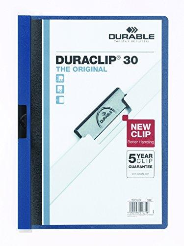 DURABLE Hunke & Jochheim Klemm-Mappe DURACLIP® Original 30,Hartfolie,bis 30 Blatt, transparent/dunkelblau