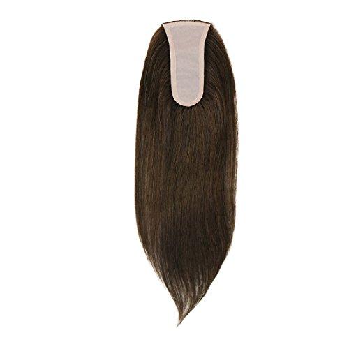 UniWigs human hair silk skin top parting closure hair topper pieces for women thin hair, hair loss natural hairline (Y-3#)
