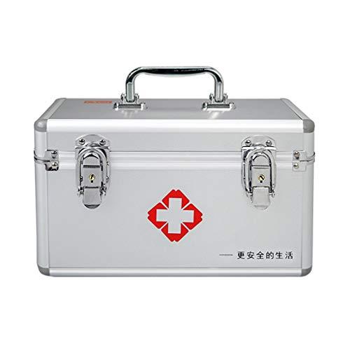 Byrhgood Kit di Pronto soccorso Erste-Hilfe-Kit-Aufbewahrungsbehälter, abschließbare 2 Layer Erste-Hilfe-Kasten, Aluminiumrahmen Medical Lagercontainer Box (Size : 14inch)