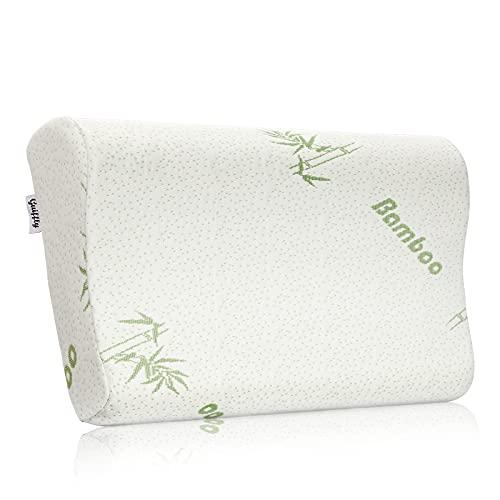 Guiffly Viscoelastic Pillow, Cuscino in Fibra di Bambù Per il Supporto e il Sollievo Dal Dolore al Collo, Cuscino Ergonomico Adatto a Schiena, Lato, Faccia in Giù, 50 X 30 Cm